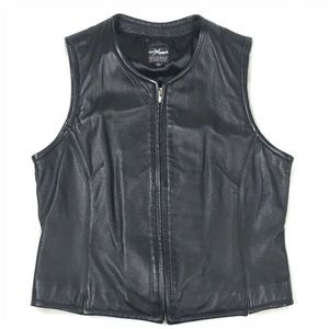 Black Leather Collarless Motorcycle Vest Size Med